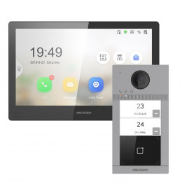 Комплект домофон Hikvision DS-KH8520-WTE1 + вызывная панель DS-KV8213-WME1/Flush