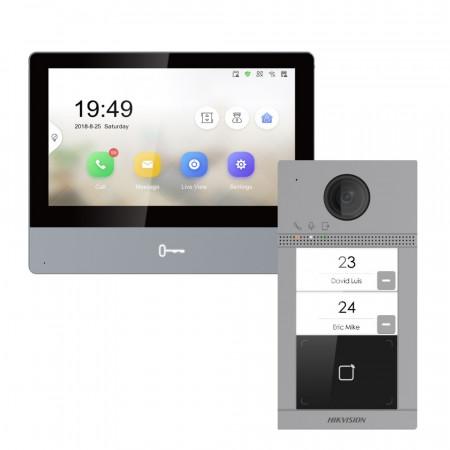Комплект домофон Hikvision DS-KH8350-TE1 + вызывная панель DS-KV8213-WME1/Flush