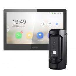 Комплект домофон Hikvision DS-KH8520-WTE1 + вызывная панель DS-KB8112-IM