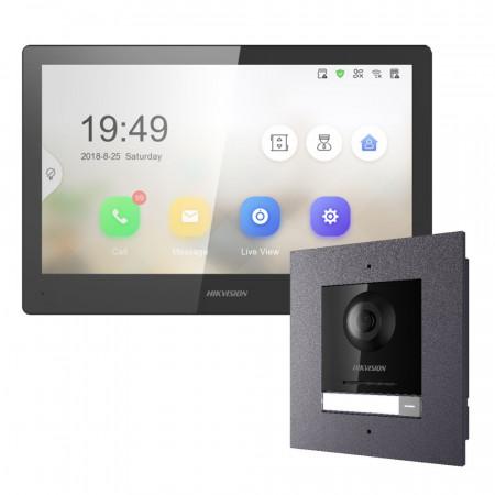 Комплект домофон Hikvision DS-KH8520-WTE1 + вызывная панель DS-KD8003-IME1/Flush