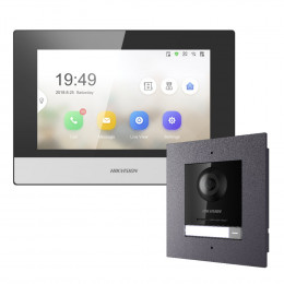 Комплект домофон Hikvision DS-KH6320-WTE1 + вызывная панель DS-KD8003-IME1/Flush