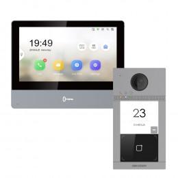 Комплект домофон Hikvision DS-KH8350-WTE1 + вызывная панель DS-KV8113-WME1/Flush